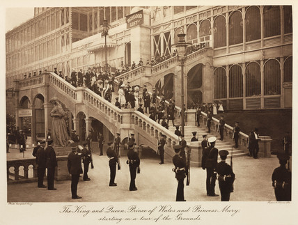Royal party touring the Crystal Palace, Sydenham, 1911.
