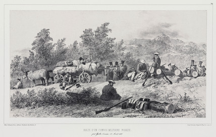 Russian military convoy stopping to rest near Yalta, Crimea, 12 August 1837.