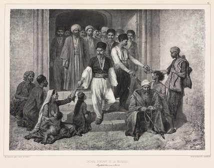 Tatars coming out of the mosque, Baghtcheh-Sarai, Crimea, 1837.