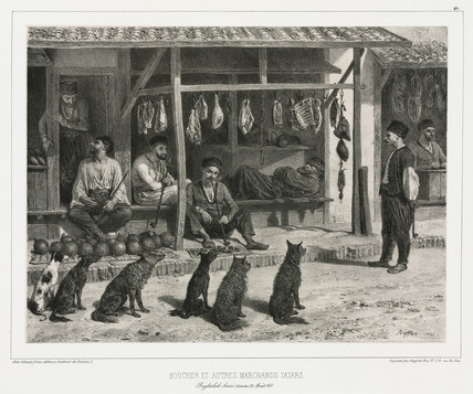 Butcher and other Tatar merchants, Baghtcheh-Sarai, Crimea, 1837.