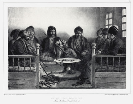 Armenians and Tatars in a cafe, Kara Sou Bazaar, Crimea, 1837.