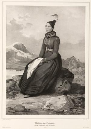 Frida Sveinsdottir in ceremonial costume, Iceland, 1835-1836.