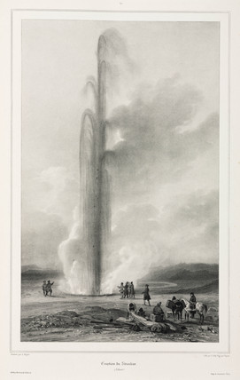 Eruption of the Strokkur geyser, Iceland, 1835-1836.
