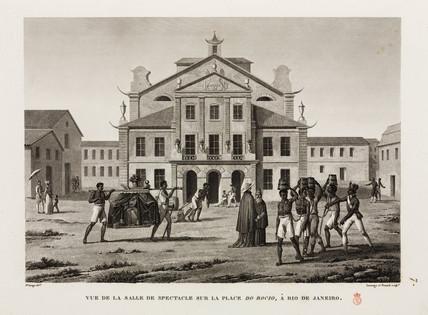 Slaves in front of the theatre, Do Rocio, Rio de Janeiro, Brazil, 1817-1820.
