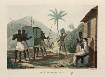 Slaves carrying a palanquin, Ile de France, Mauritius, 1817-1820.