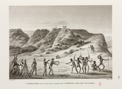Meeting between Frenchmen and aboriginals, New Holland, 1817-1820.
