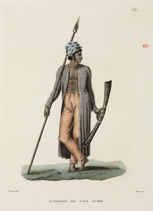 Warrior from the island of Guebe, 1817-1820.