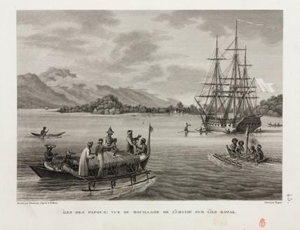 The 'Uranie' at anchor, Island of Rawak, 1817-1820.