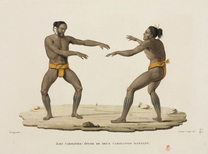 Two male dancers, Caroline Islands, 1817-1820.