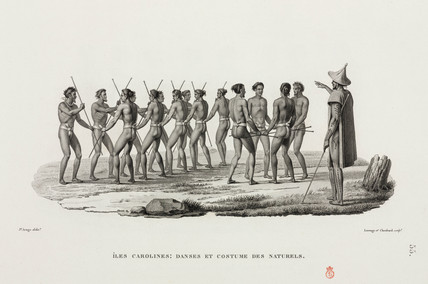 Male dancers, Caroline Islands, 1817-1820.