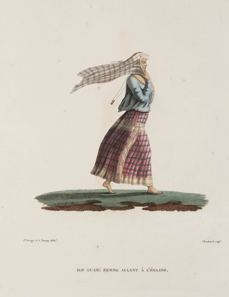Woman going to church, Guam, 1817-1820.