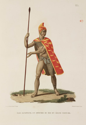 Officer of the king in full ceremonial dress, Sandwich Islands, 1817-1820.