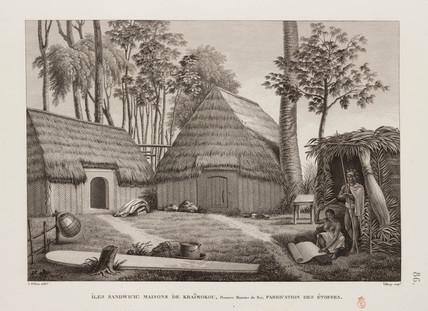 Woman making cloth, Sandwich Islands, 1817-1820.