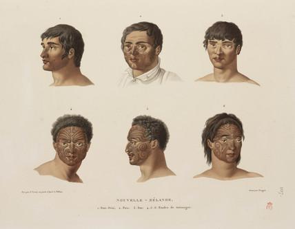 Maori tattoos, 1817-1820.
