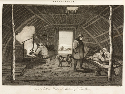 'Kamschatkan [sic] Hut, and Method of Travelling', c 1810.