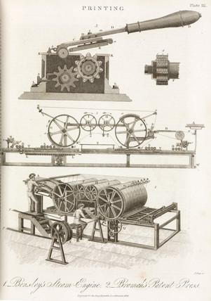 'Bensley's Steam-Engine' and 'Bramah's Patent Pres', 1826.