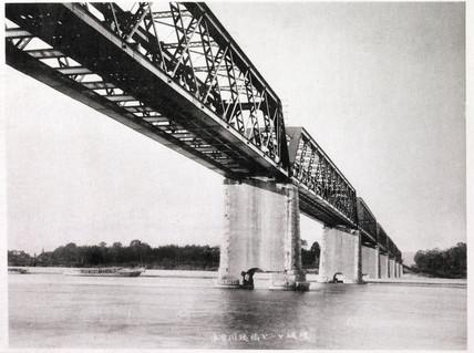 Kisogawa Railway Bridge after the earthquake, Japan, 1891.