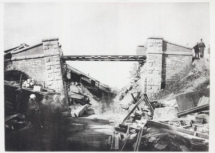 Biwajima Railway Bridge after the earthquake, Japan, 1891.