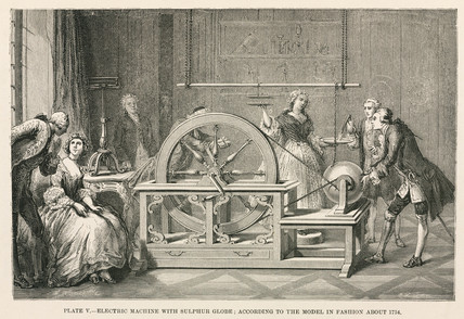 Electrostatic machine with sulphur globe, c 1750s.