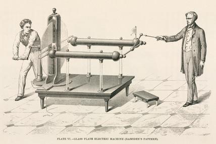 Jesse Ramsden's glass plate electrostatic machine, c 1760s.