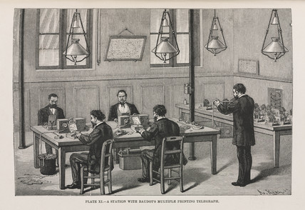 A station with Baudot's multiple printing telegraph, 1891.