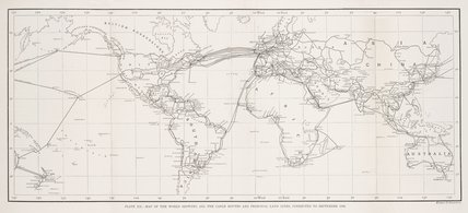 Map of the world showing all the cable routes and principal land lines, 1890.