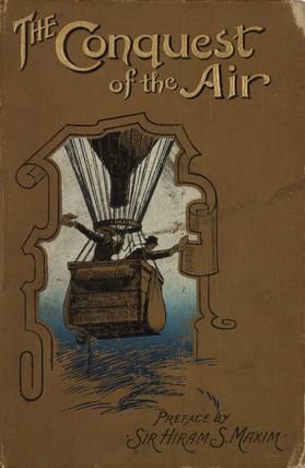 Two men in a hot-air balloon basket; book cover, 1902.