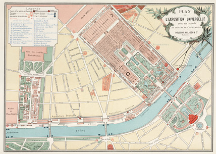 Map of the exhibition area, Paris, 1889.