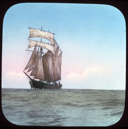 Ship at sea, c 1895.
