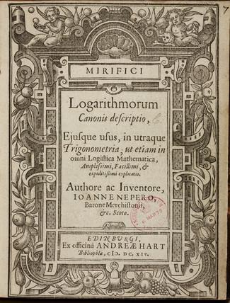 Napier's logarithms, 1614.
