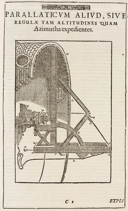 Tycho Brahe's parallactic rods, with azimuth circle, c 1587.