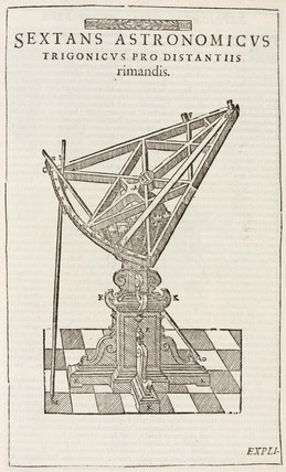 Tycho Brahe's wooden sextant on universal mount, c 1577.