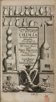Title page to a book on alchemy, 1672.