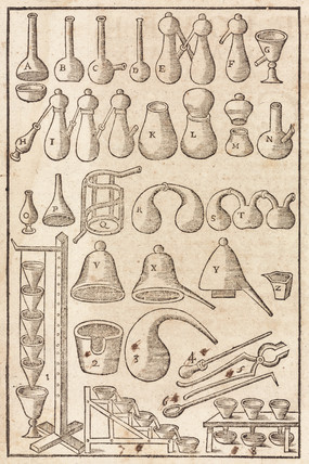Alchemical apparatus, 1657.
