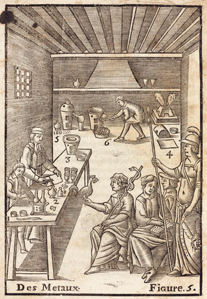 Annibal Barlet demonstrating the use of metals, 1657.