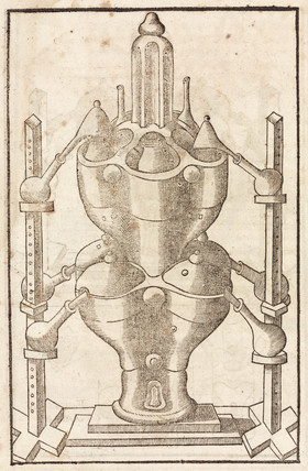 Furnace with distillation retorts, 1657.