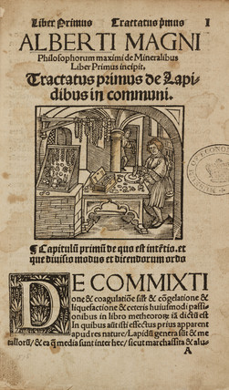 Title page to a medieval German work on mineralogy and alchemy, 1518.