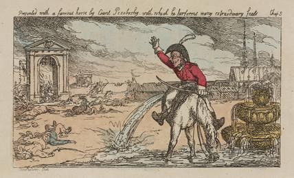 Baron Munchausen riding half a horse, 1811.
