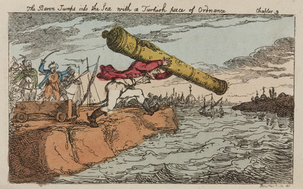 Baron Munchausen steals a Turkish cannon, 1811.