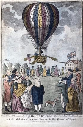 Mr Lunardi in Air Balloon, 1784.