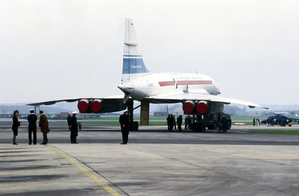 A French Concorde on the runway.