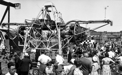 Rolls-Royce Thrust Measuring Rig (TMR) XJ314 at Farnborough, July 1955.