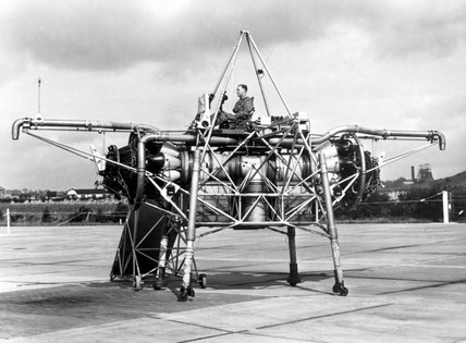 'Flying Bedstead' during tests, Hucknall, Nottinghamshire, c 1955.