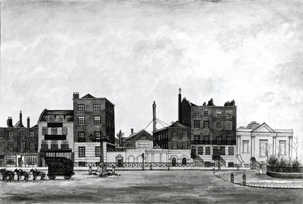 Drawing of Henry Maudslay's Lambeth Works, c 1810-1830.