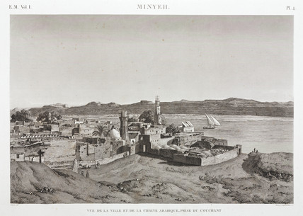 The city of Al Minya and the River Nile, Egypt, 1798.