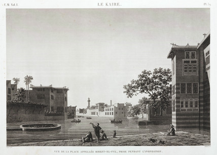 Birket-al-Fyl, Cairo, Egypt, during the flood, c 1798.