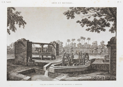 Wheel and bucket irrigation system, Egypt, c 1798.