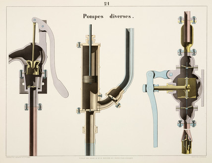 Three types of pump, 1856.