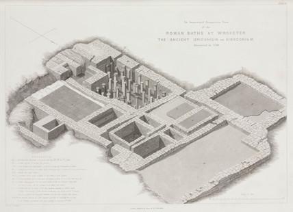Roman baths, Wroxeter, Shropshire, 1838.