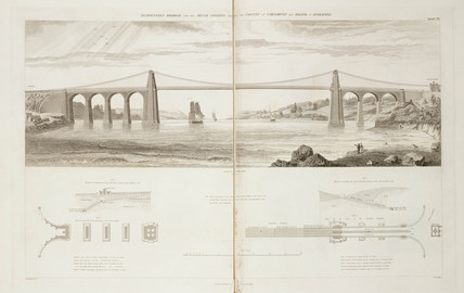 Menai Suspension Bridge, North Wales, 1838.